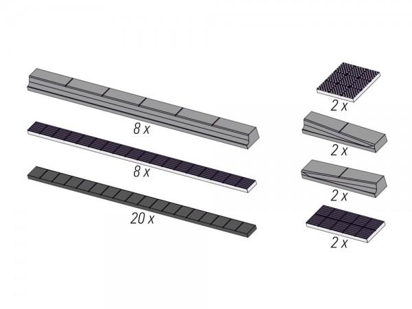 Citybord-Haltestelle mit Blindenleitstreifen, 2 Haltestellen 250mm lang, 1:87