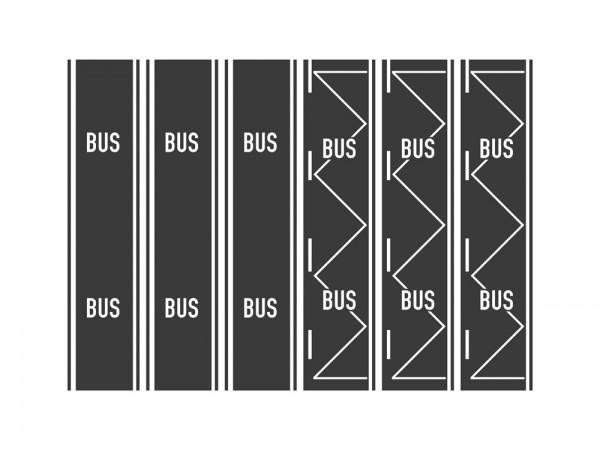 Teerbelag Busspur, Bushaltestelle je 3 Stück, 1:87
